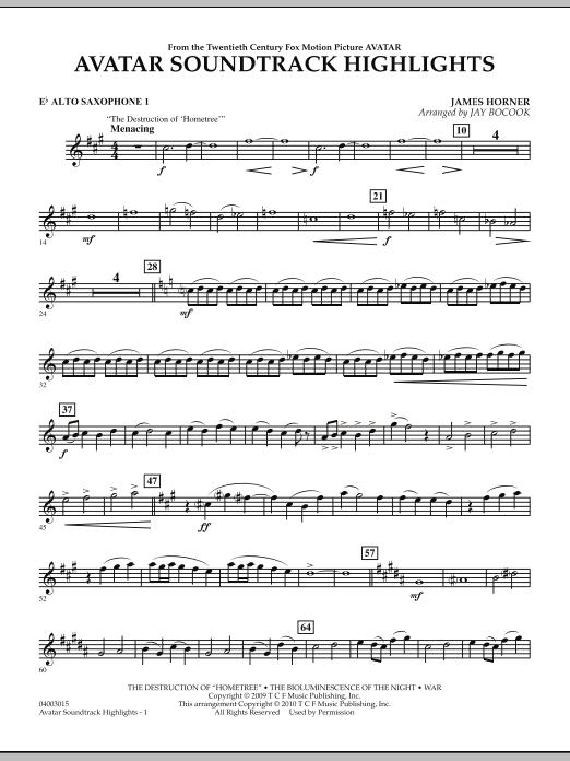 Avatar Soundtrack Highlights - Eb Alto Saxophone 1 (Concert Band)