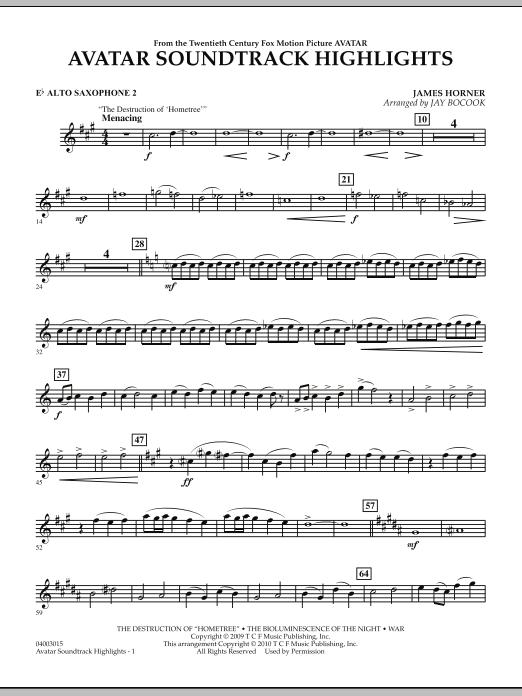 Avatar Soundtrack Highlights - Eb Alto Saxophone 2 (Concert Band)