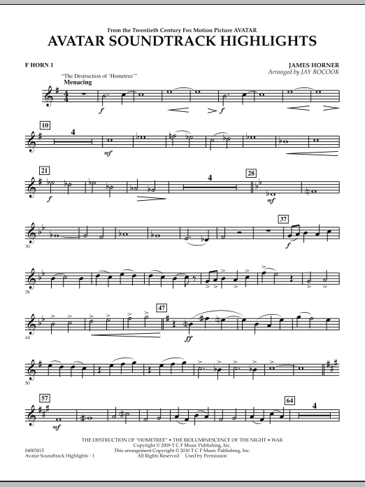 Avatar Soundtrack Highlights - F Horn 1 (Concert Band)