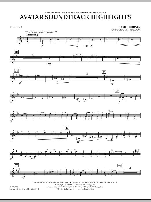 Avatar Soundtrack Highlights - F Horn 2 (Concert Band)