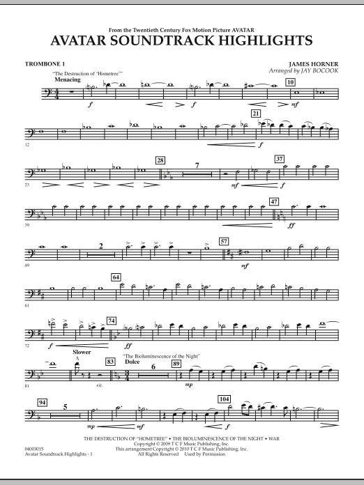 Avatar Soundtrack Highlights - Trombone 1 (Concert Band)