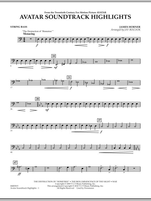Avatar Soundtrack Highlights - String Bass (Concert Band)