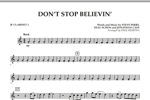 Don't Stop Believin' - Bb Clarinet 1 (Concert Band)