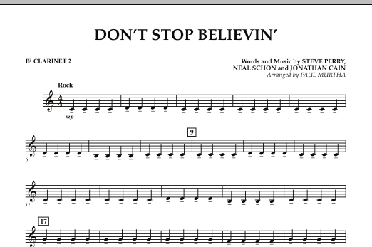 Don't Stop Believin' - Bb Clarinet 2 (Concert Band)