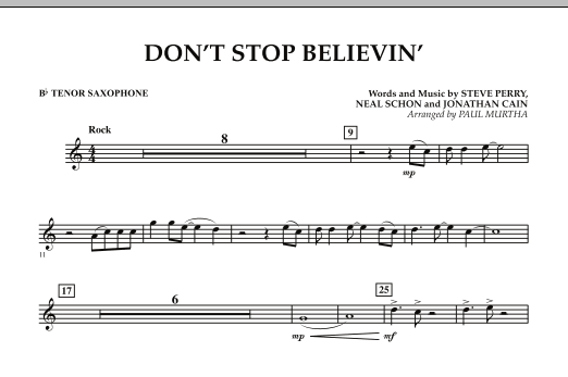 Don't Stop Believin' - Bb Tenor Saxophone (Concert Band)