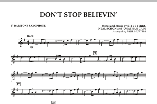 Don't Stop Believin' - Eb Baritone Saxophone (Concert Band)
