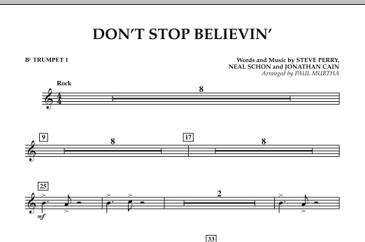 Don't Stop Believin' - Bb Trumpet 1 (Concert Band)
