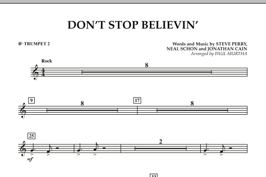 Don't Stop Believin' - Bb Trumpet 2 (Concert Band)