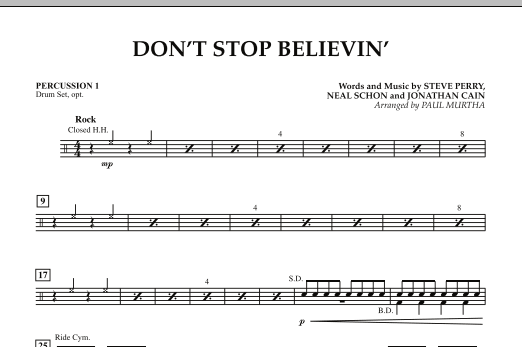 Don't Stop Believin' - Percussion 1 (Concert Band)