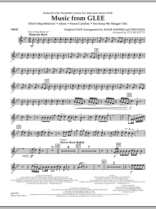 Music from Glee - Oboe (Concert Band)
