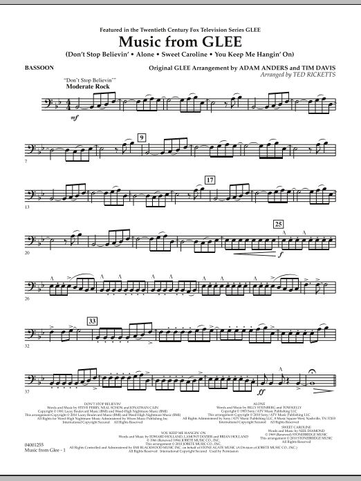 Music from Glee - Bassoon (Concert Band)