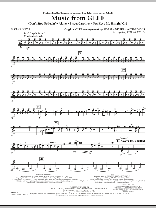 Music from Glee - Bb Clarinet 1 (Concert Band)