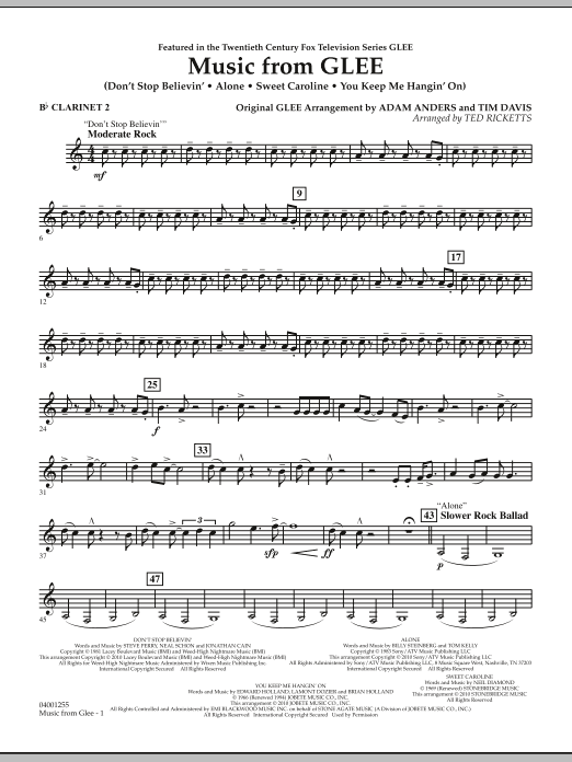 Music from Glee - Bb Clarinet 2 (Concert Band)