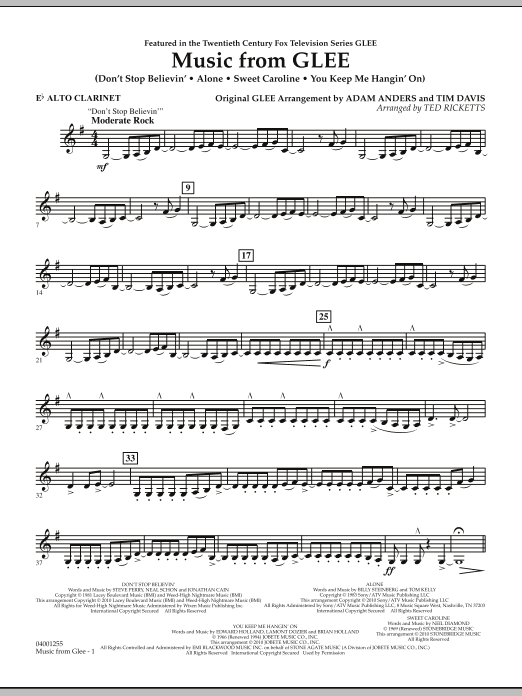 Music from Glee - Eb Alto Clarinet (Concert Band)
