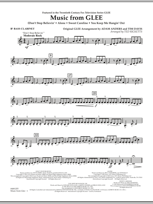 Music from Glee - Bb Bass Clarinet (Concert Band)