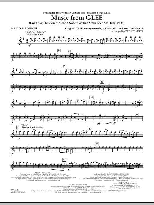 Music from Glee - Eb Alto Saxophone 1 (Concert Band)