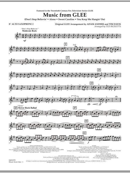 Music from Glee - Eb Alto Saxophone 2 (Concert Band)