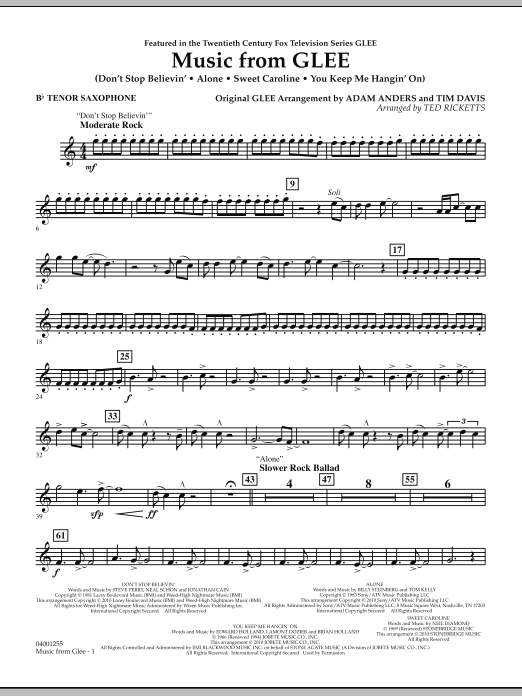 Music from Glee - Bb Tenor Saxophone (Concert Band)