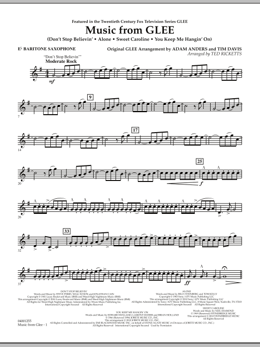 Music from Glee - Eb Baritone Saxophone (Concert Band)