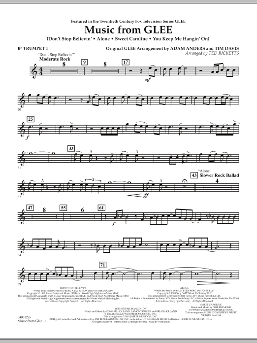 Music from Glee - Bb Trumpet 1 (Concert Band)