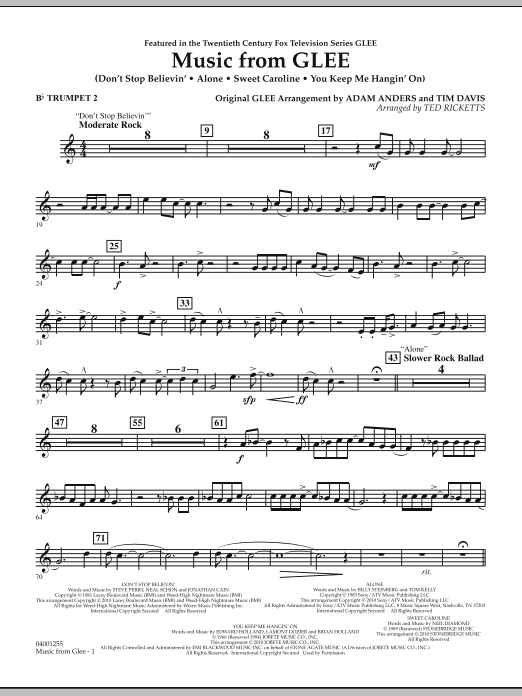 Music from Glee - Bb Trumpet 2 (Concert Band)