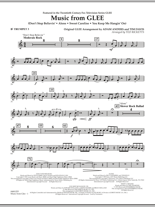 Music from Glee - Bb Trumpet 3 (Concert Band)