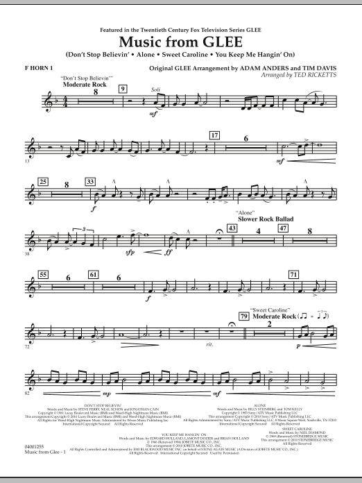 Music from Glee - F Horn 1 (Concert Band)