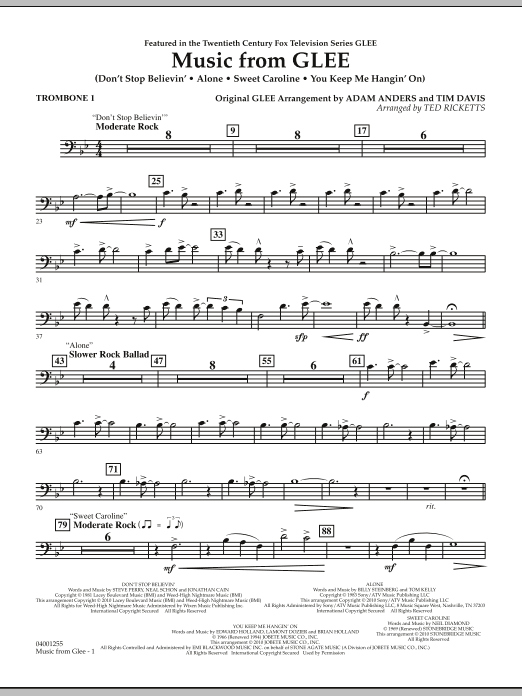 Music from Glee - Trombone 1 (Concert Band)