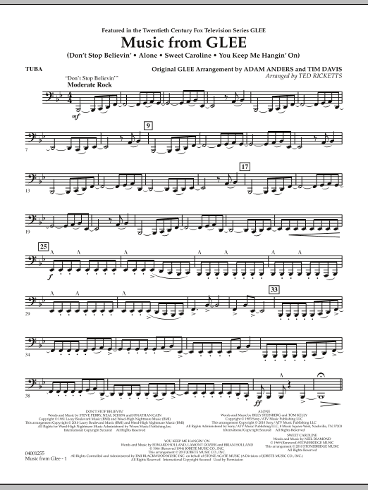 Music from Glee - Tuba (Concert Band)