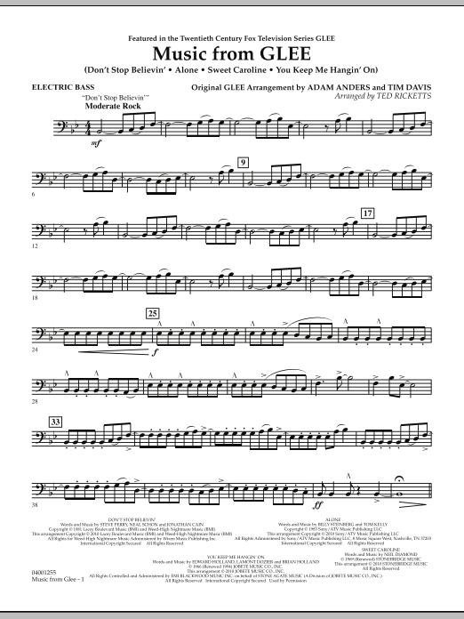 Music from Glee - Electric Bass (Concert Band)