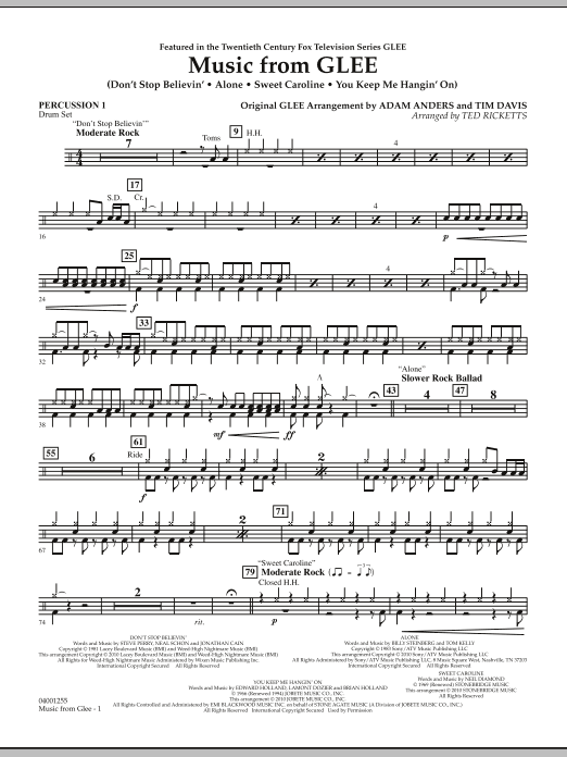 Music from Glee - Percussion 1 (Concert Band)