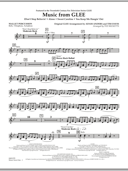 Music from Glee - Mallet Percussion (Concert Band)