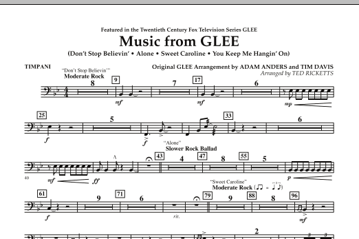 Music from Glee - Timpani (Concert Band)