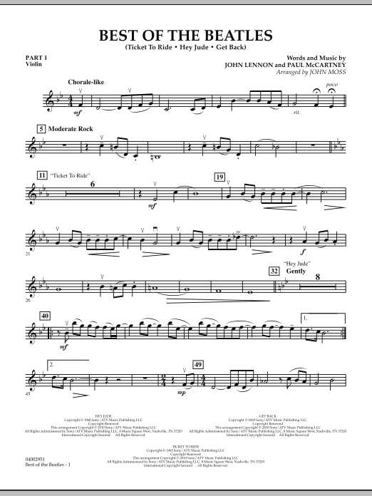 Best of The Beatles (arr. John Moss) - Pt.1 - Violin (Concert Band: Flex-Band)