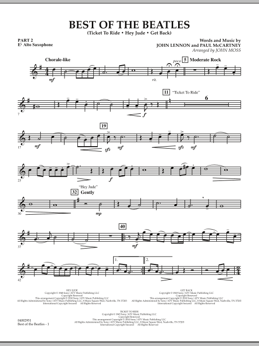 Best of The Beatles (arr. John Moss) - Pt.2 - Eb Alto Saxophone (Concert Band: Flex-Band)