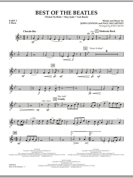 Best of The Beatles (arr. John Moss) - Pt.3 - F Horn (Concert Band: Flex-Band)