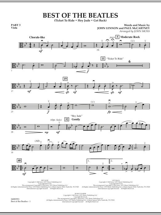 Best of The Beatles (arr. John Moss) - Pt.3 - Viola (Concert Band: Flex-Band)