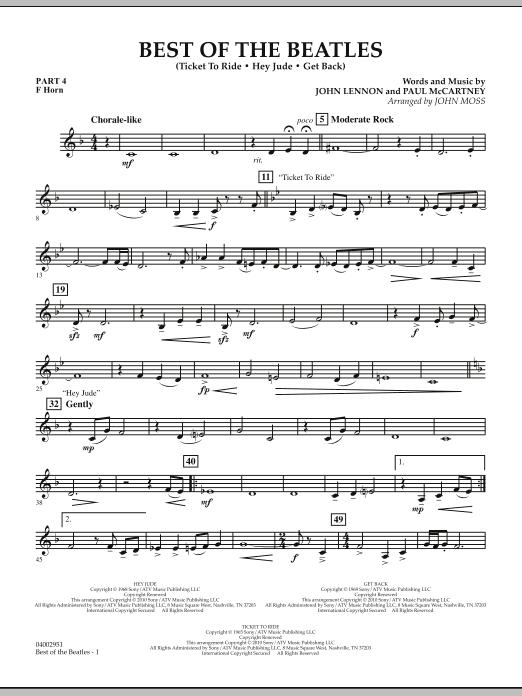 Best of The Beatles (arr. John Moss) - Pt.4 - F Horn (Concert Band: Flex-Band)