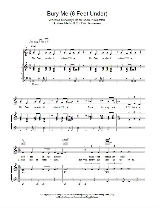 Bury Me (6 Feet Under) Sheet Music
