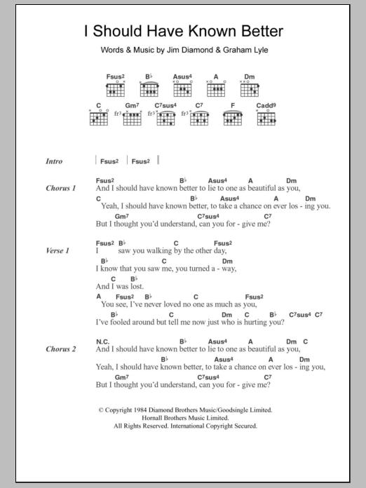 I Should Have Known Better Sheet Music Jim Diamond Lyrics Chords
