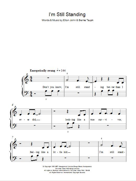 I M Still Standing Partituras Elton John Piano Para Cinco Dedos