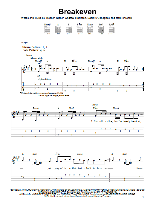 Tablature guitare Breakeven de The Script - Tablature guitare facile