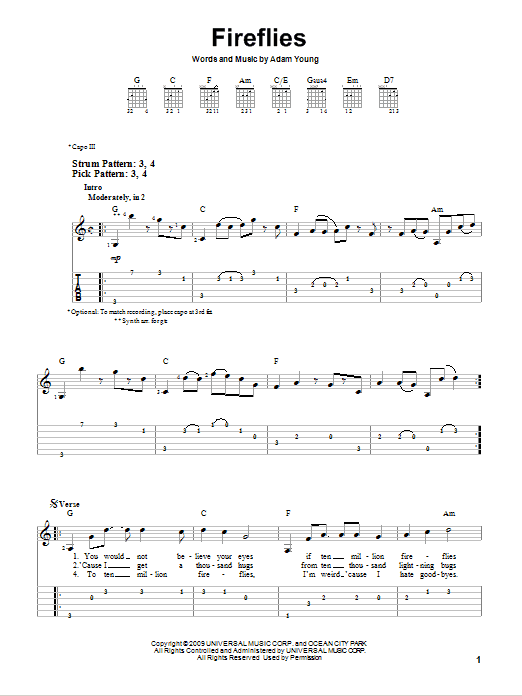 Ukulele ukulele tabs owl city : Fireflies sheet music by Owl City (Easy Guitar Tab – 76025)