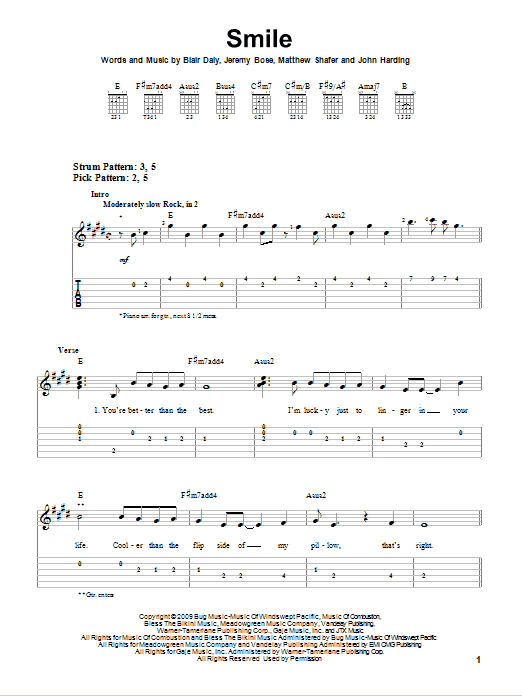 Tablature guitare Smile de Uncle Kracker - Tablature guitare facile