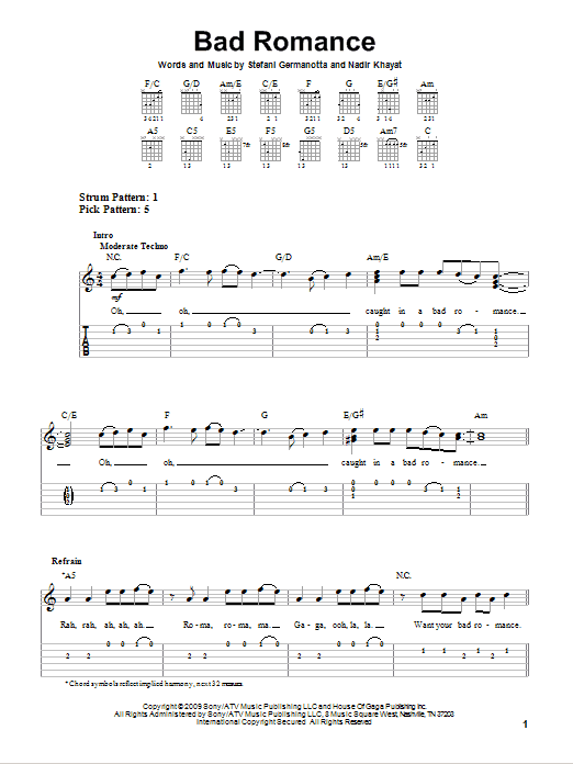 Bad Romance (Easy Guitar Tab)