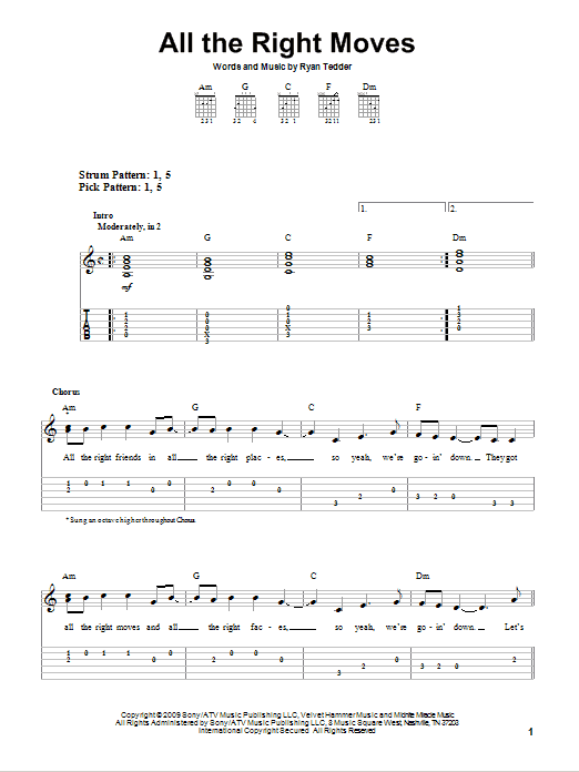 All The Right Moves (Easy Guitar Tab)