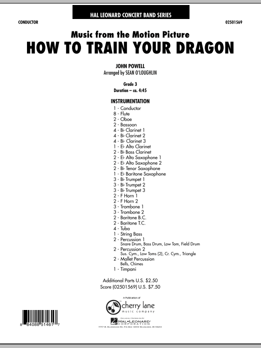 Music from How To Train Your Dragon (COMPLETE) sheet music for concert band by Sean O'Loughlin and John Powell. Score Image Preview.
