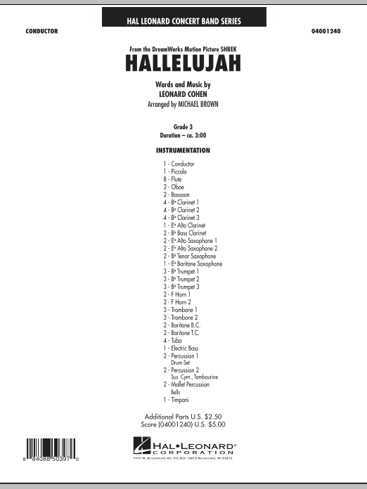 Hallelujah (COMPLETE) sheet music for concert band by Leonard Cohen and Michael Brown. Score Image Preview.