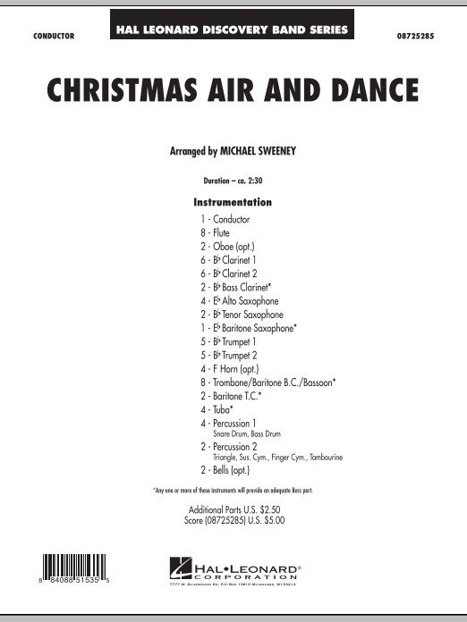 Christmas Air And Dance (COMPLETE) sheet music for concert band by Michael Sweeney. Score Image Preview.