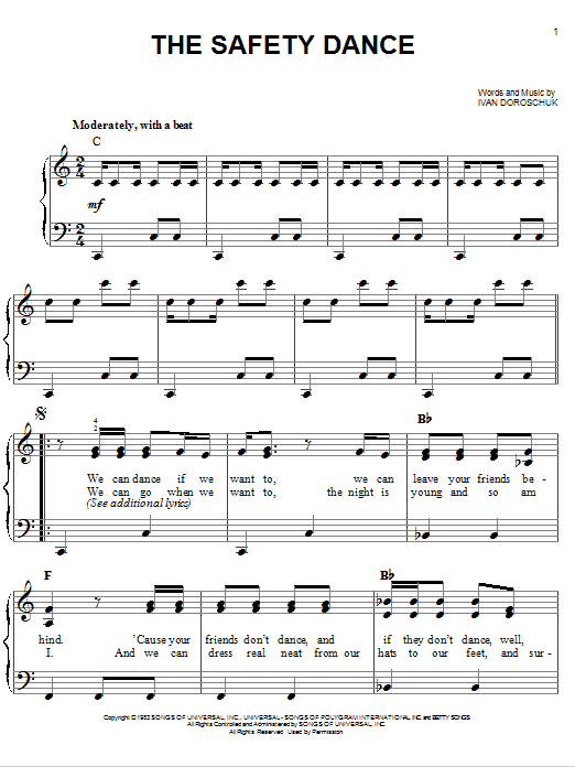 Partition piano The Safety Dance de Men Without Hats - Piano Facile